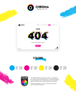 chroma project user interface webiste page for 404 error page ui with glitch typography and CMYK colors used in printing along with color theory badge