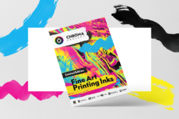 promotional poster of chroma project with marble art painting in cmyk printing colors and brush strokes