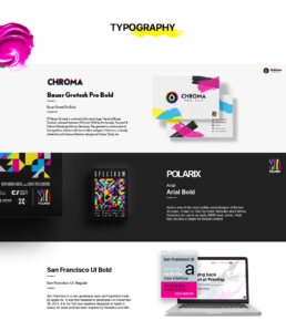typography and fonts used in chroma project; bauer grotesk, arial, san fracisco ui