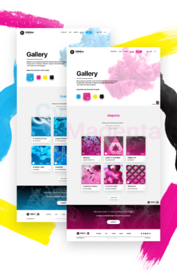 chroma project gallery user interface look for cyan and magenta colors with artwork uploaded by artists and designers